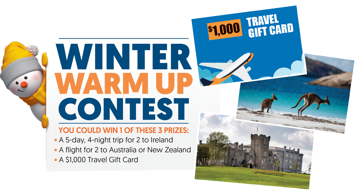 You could WIN 1 of 3 Winter Warm ups!